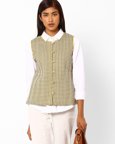 Printed Sleeveless Quilted Jacket By AJIO ( Olive )