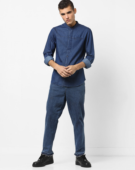 Checked Slim Fit Shirt With Mandarin Collar By AJIO ( Blue )