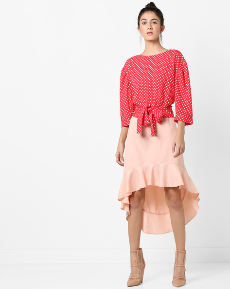 Polka-Dot Print Top With Tie-Up By AJIO ( Pink )