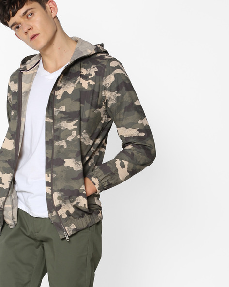 Camouflage Print Shacket With Hood By DNMX ( Olive )
