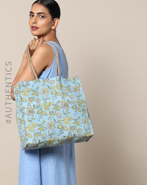 Sanganeri Handblock Print Cotton Jute Handbag By Awdhesh Kumar ( Lightblue )