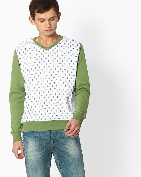 Printed Sweatshirt With Contrast Sleeves By Blue Saint ( Darkgreen )