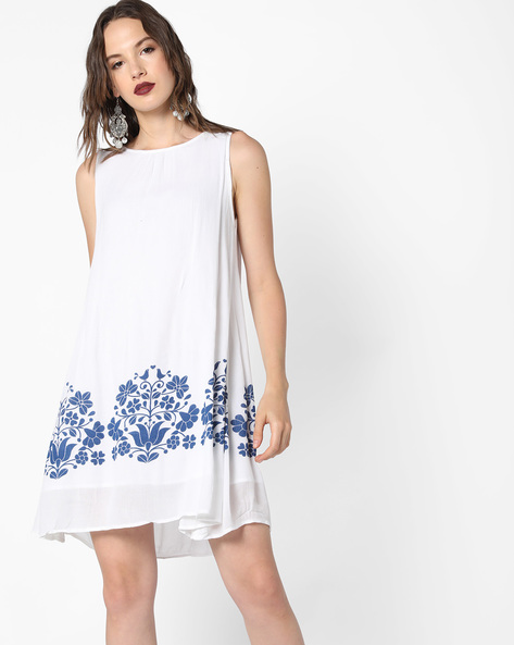 Floral Print A-Line Dress By Evah London ( White )