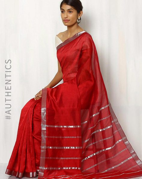 Handwoven Mangalgiri Cotton  Silk Saree By Indie Picks ( Fuchsia )
