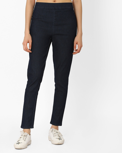 Ankle-Length Jeggings With Elasticated Waist By AURELIA ( Blue )