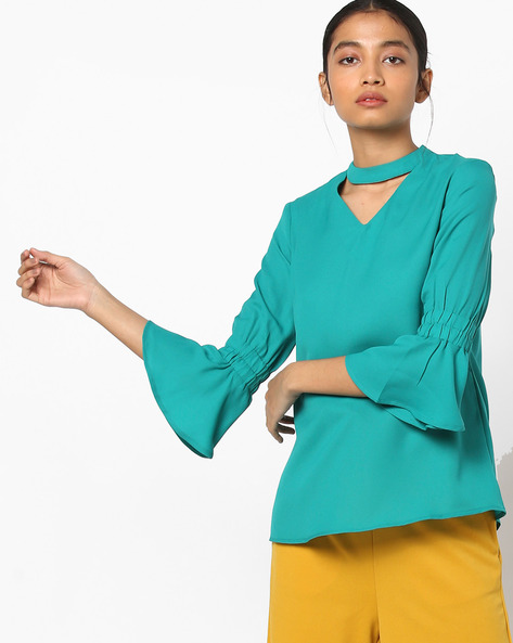 Choker-Neckline Top With Flute Sleeves By AJIO ( Teal )