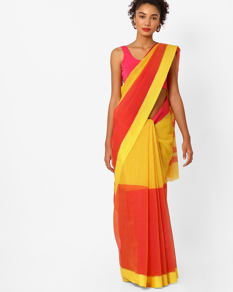 Colourblock Saree With Self-Design By Ishaya ( Yellow )