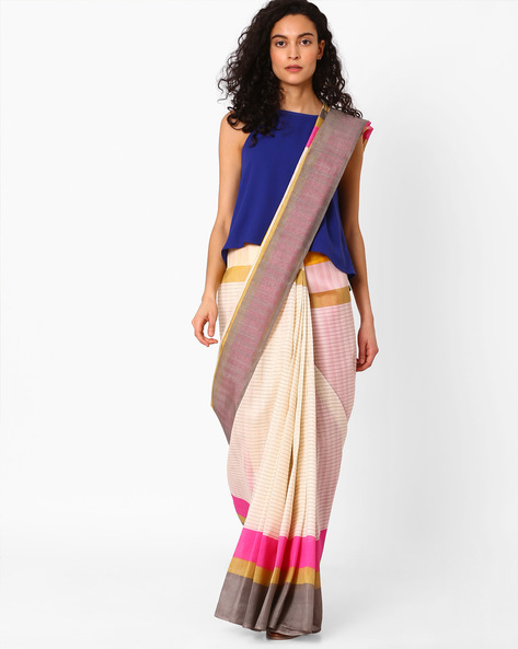 Striped Saree With Contrast Border By Hitansh ( White )