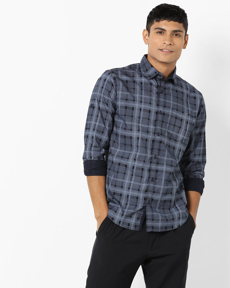 Checked Slim Fit Shirt With Patch Pocket By Locomotive ( Multi ) - 460160143001