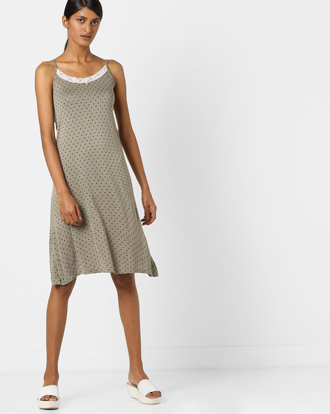 Polka-Dot Print Strappy Nightdress By Strings ( Khaki )