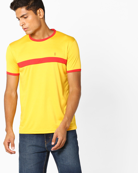 Colourblock Crew-Neck T-shirt By BLOTCH ( Yellow )