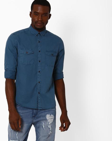Slim Fit Twill Utility Shirt By AJIO ( Blue )