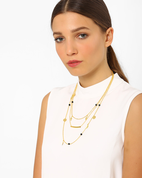 Layered Alloy Necklace By AJIO ( Gold )