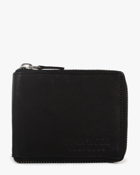 Leather Bi-Fold Wallet By TEAKWOOD LEATHERS ( Black ) - 460070936001
