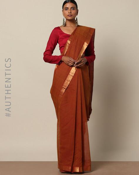 Handloom Mangalgiri Missing Check Saree By Indie Picks ( Brown )