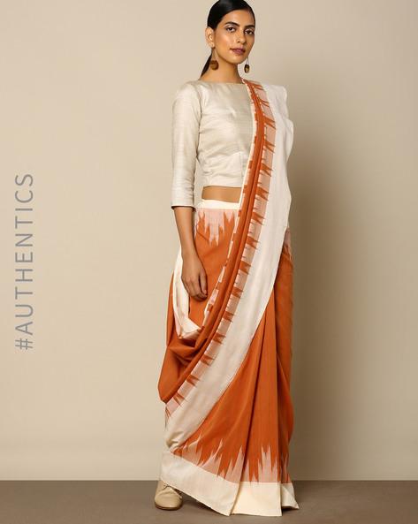 Handloom Ikat Cotton Saree By Indie Picks ( Brown )