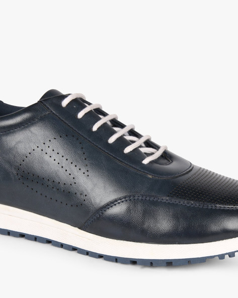 Lace-Up Sneakers With Toothy Sole By DUKE ( Navy )
