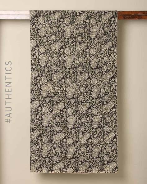 Handblock Print Kalamkari Cotton Rayon Blouse Fabric By Indie Picks ( Black )
