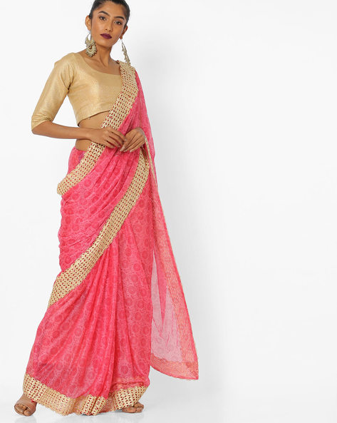 Floral Print Saree With Contrast Border By CHHABRA 555 ( Pink )