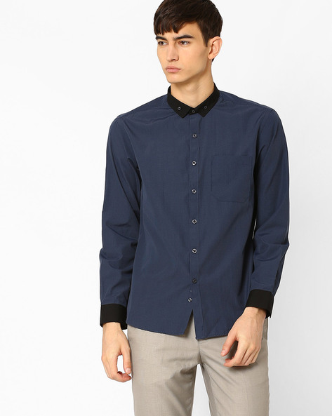 Striped Button-Down Shirt With Patch Pocket By NETWORK ( Black )