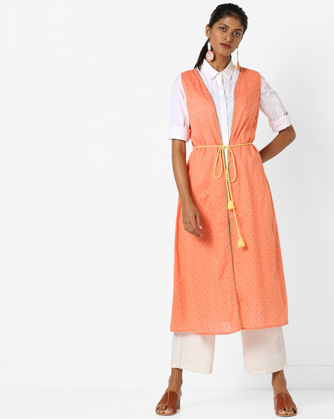 Sleeveless Open-Front Kurta With Tasselled Tie-Up By AJIO ( Coral )