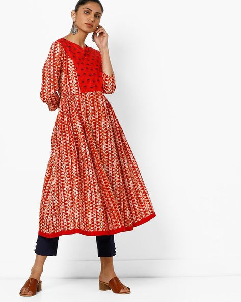 Geometric Print Kurta With Contrast Yoke By AJIO ( Red )