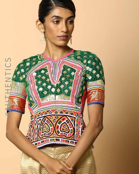 Kutch Embroidered Backless Blouse By Indie Picks ( Multi ) - 460103665001