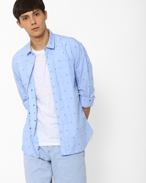 Slim Fit Shirt With Patch Pocket By Killer ( Blue )