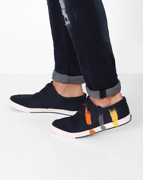 Printed Canvas Sneakers By Spunk ( Navy )