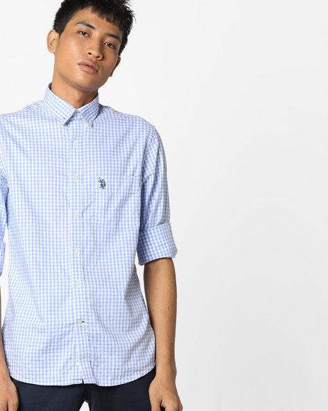 Checked Shirt With Button-Down Collar By US POLO ( Blue )