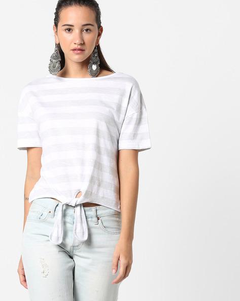 Striped T-shirt With Tie-Up By AJIO ( Grey )