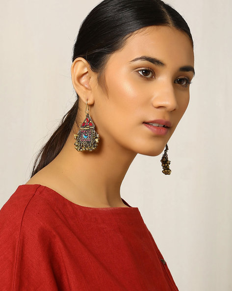 Handcrafted Afghan Drop-Earrings By Indie Picks ( Metallic )