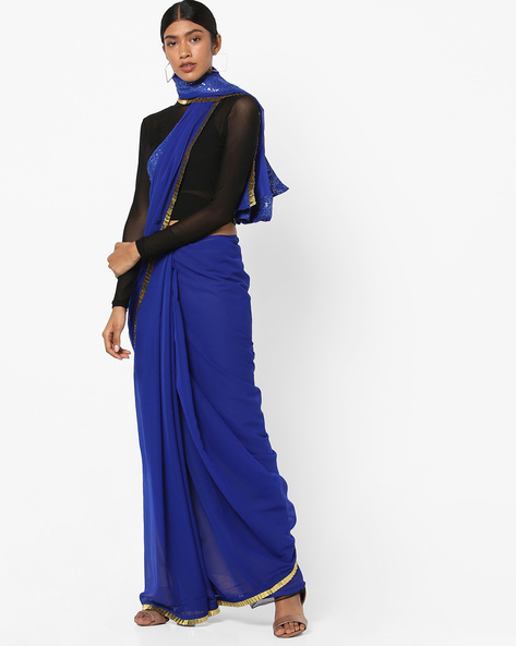 Saree With Sequinned Border By Ishaya ( Blue )