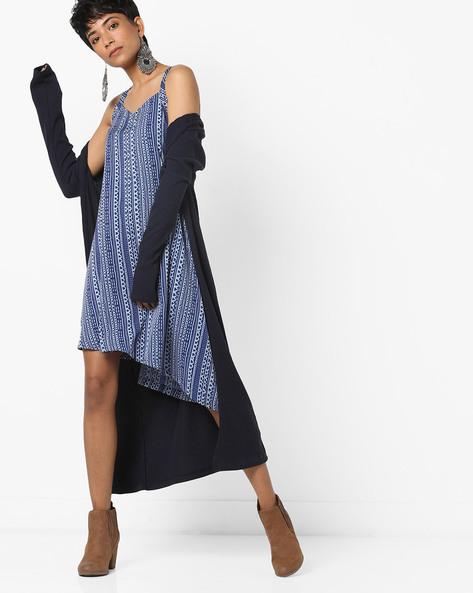 Asymmetrical Strappy A-line Printed Dress By AJIO ( Blue )