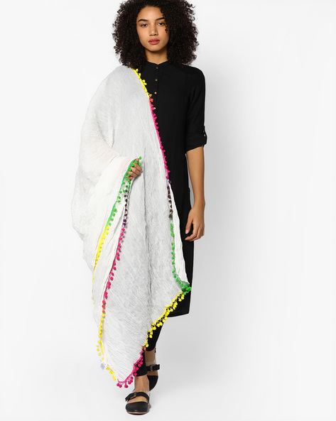 Crushed Dupatta With Pom-Poms By Melange By Lifestyle ( White )
