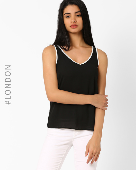 V-neck Vest Top By Marks & Spencer ( Black )