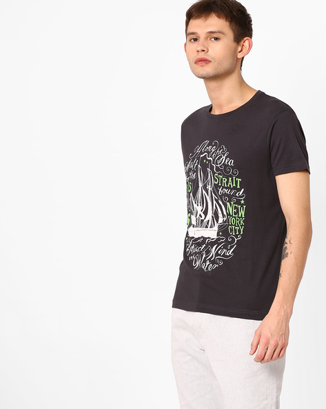 Graphic Print Slim Fit T-shirt By ADAMO LONDON ( Darkgrey )