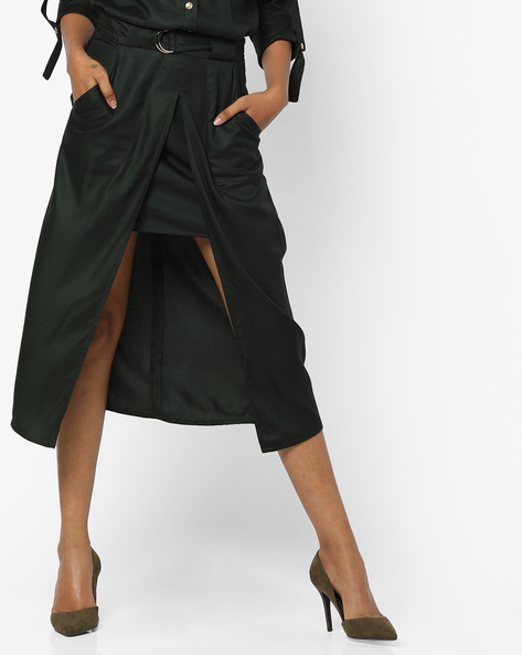 Belted Midi Skirt With Front Slit By AJIO ( Green )