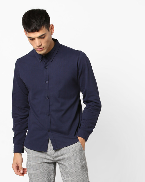 Cotton Cotton Knit Shirt With Button-Down Collar By Garcon ( Navy )