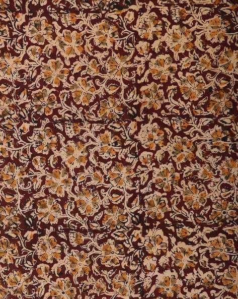 Kalamkari Handblock Print Cotton Kurta Fabric By Indie Picks ( Maroon )