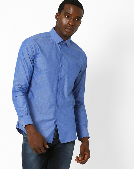 Cecil Classic Slim Fit Shirt By Wills Lifestyle ( Blue )