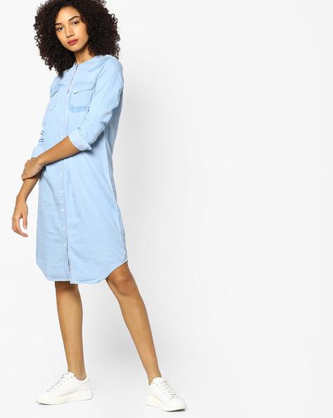 Denim Shirt Dress With Flap Pockets By AJIO ( Lightblue )