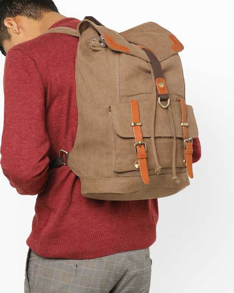 Laptop Backpack With Flap Closure By AJIO ( Brown )
