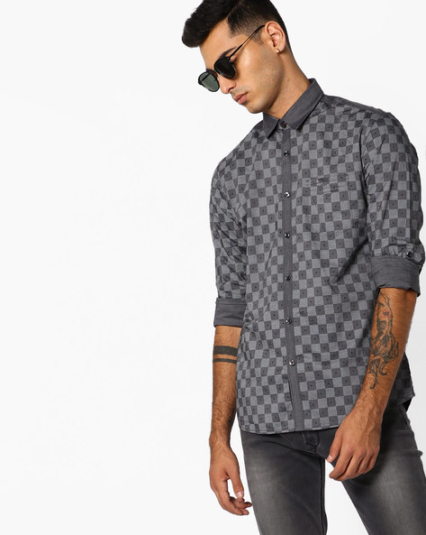 Checked Shirt With Patch Pocket By Killer ( Grey )