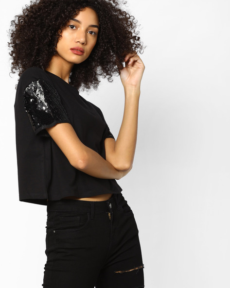 Boxy Top With Sequin Embellished Sleeves By AJIO ( Black )