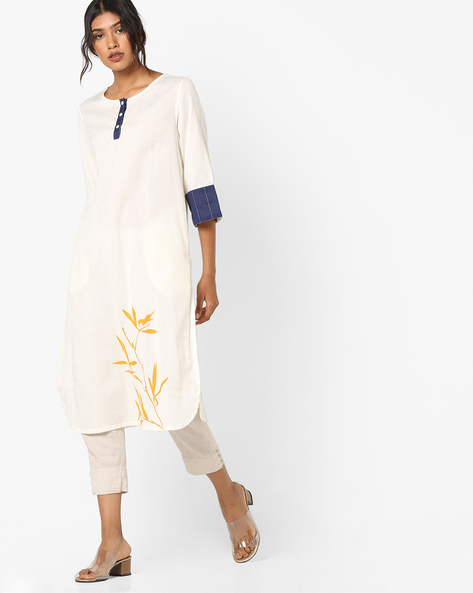Straight Kurta With Placement Print By AJIO ( Offwhite )