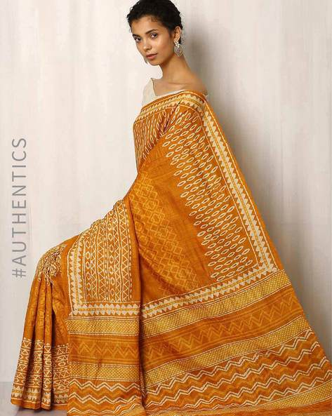 Bagru Print Pure Tussar Silk Saree By Indie Picks ( Yellow )