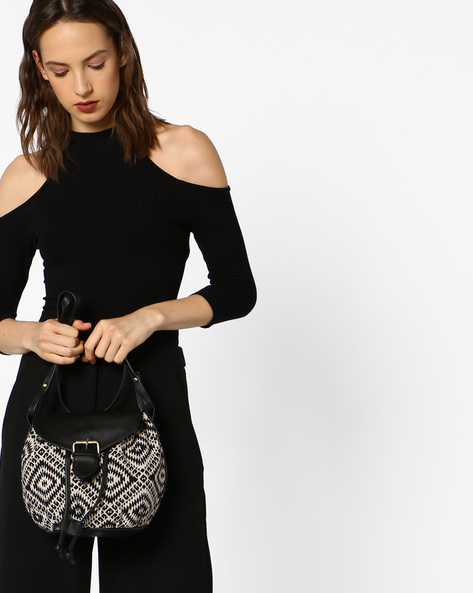 Jacquard Weave Sling Bag By Kanvas Katha ( Multi )