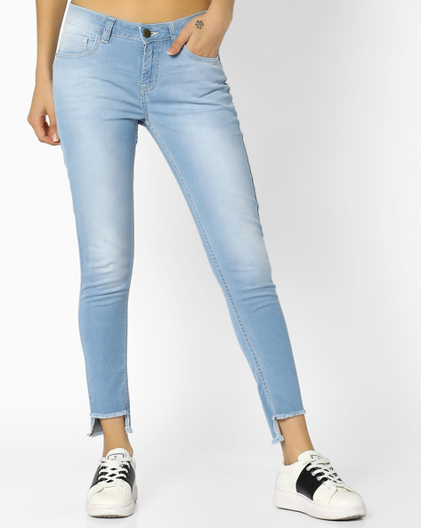 Mid-Rise Denims With Step Hems By AJIO ( Lightblue )