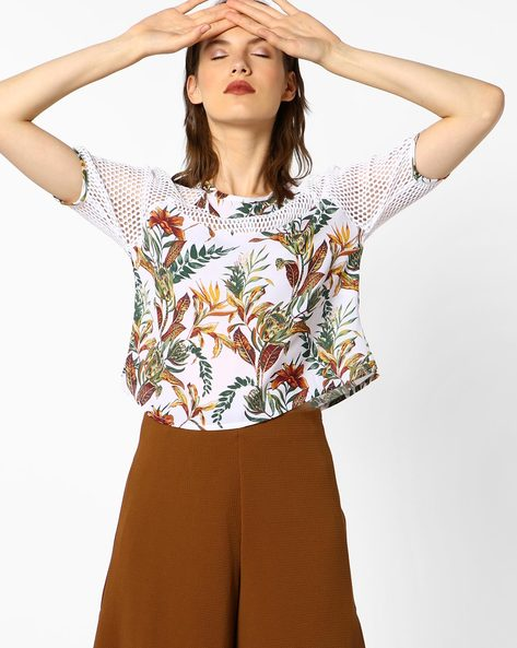 Boxy Floral Print Top With Mesh Inserts By AJIO ( Offwhite )